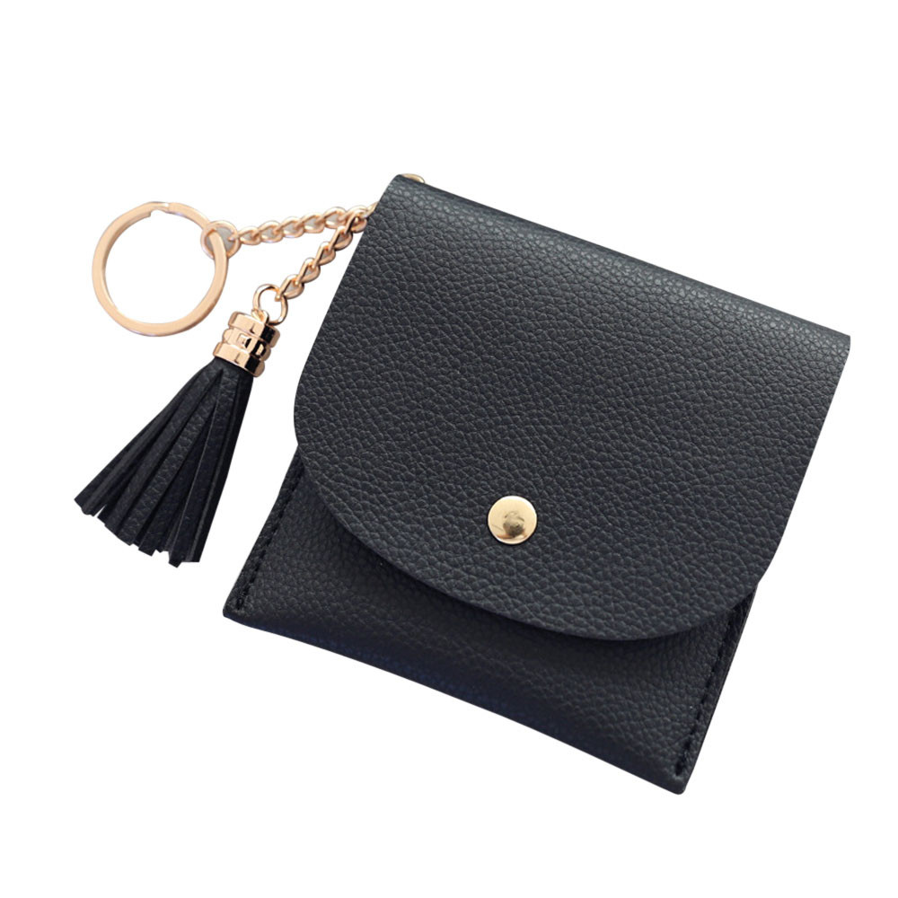 Women Simple Tassel Short Wallet Coin Purse Card Holders Handbag Credit Card ID Holder W ...