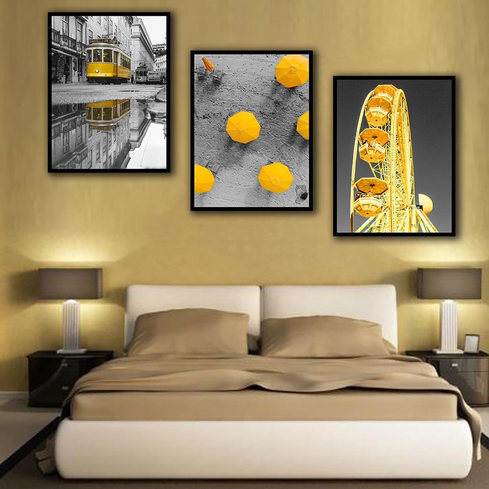 Nordic Poster Landscape Ferris wheel Orange Bus Art Print Canvas Painting Picture Decorative For Living Room Home Decor in Painting Calligraphy from Home Garden