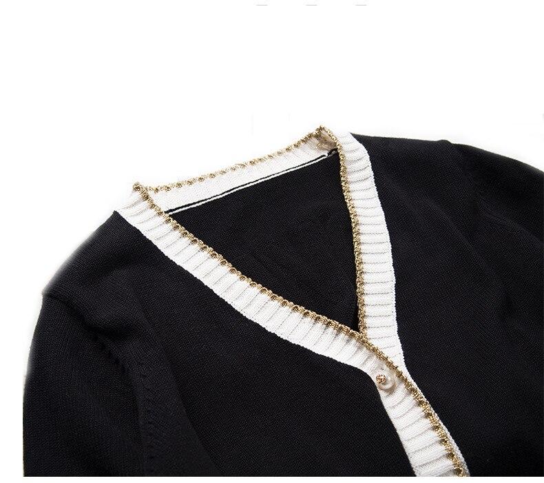 Chandail Femmes Diamant Manteau Singe Noël 2018 De D'hiver Tricoté Tops Broderie Black Mode Noir Coton Pulls Long Pur Bouton twFBS