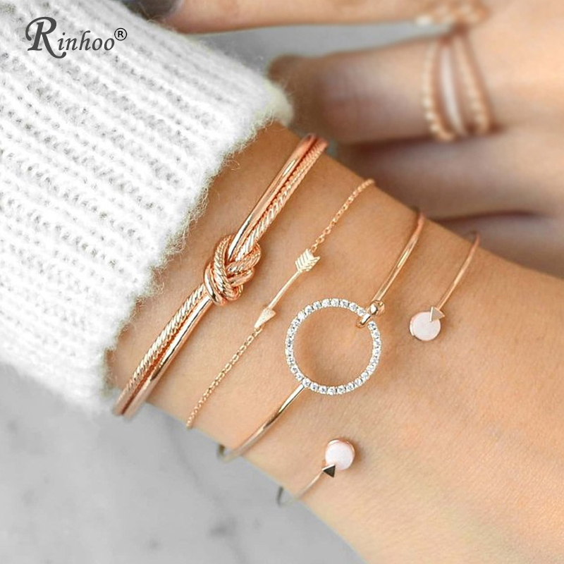 RINHOO 4 Pcs/ Set Classic Arrow Knot Round Crystal Gem Multilayer Adjustable Open Bracelet Set Women Fashion Party Jewelry Gift
