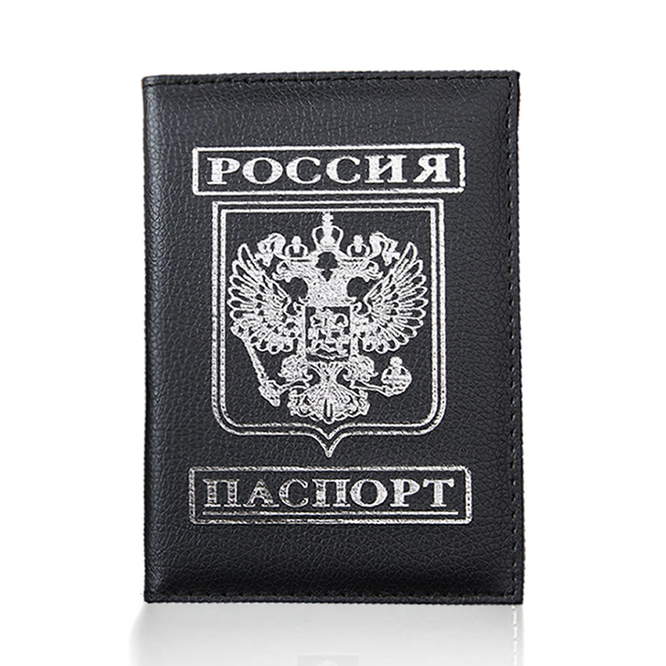 Travel Passport Cover Women Men Russian Emblem Passport Credit Card Holder Case PU Leather Business Card Passport Wallet