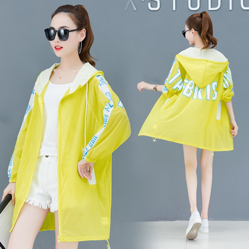 Coats Hooded-Jacket Summer Clothing Beach-Cardigan Rainbow-Color Female Breathable Women