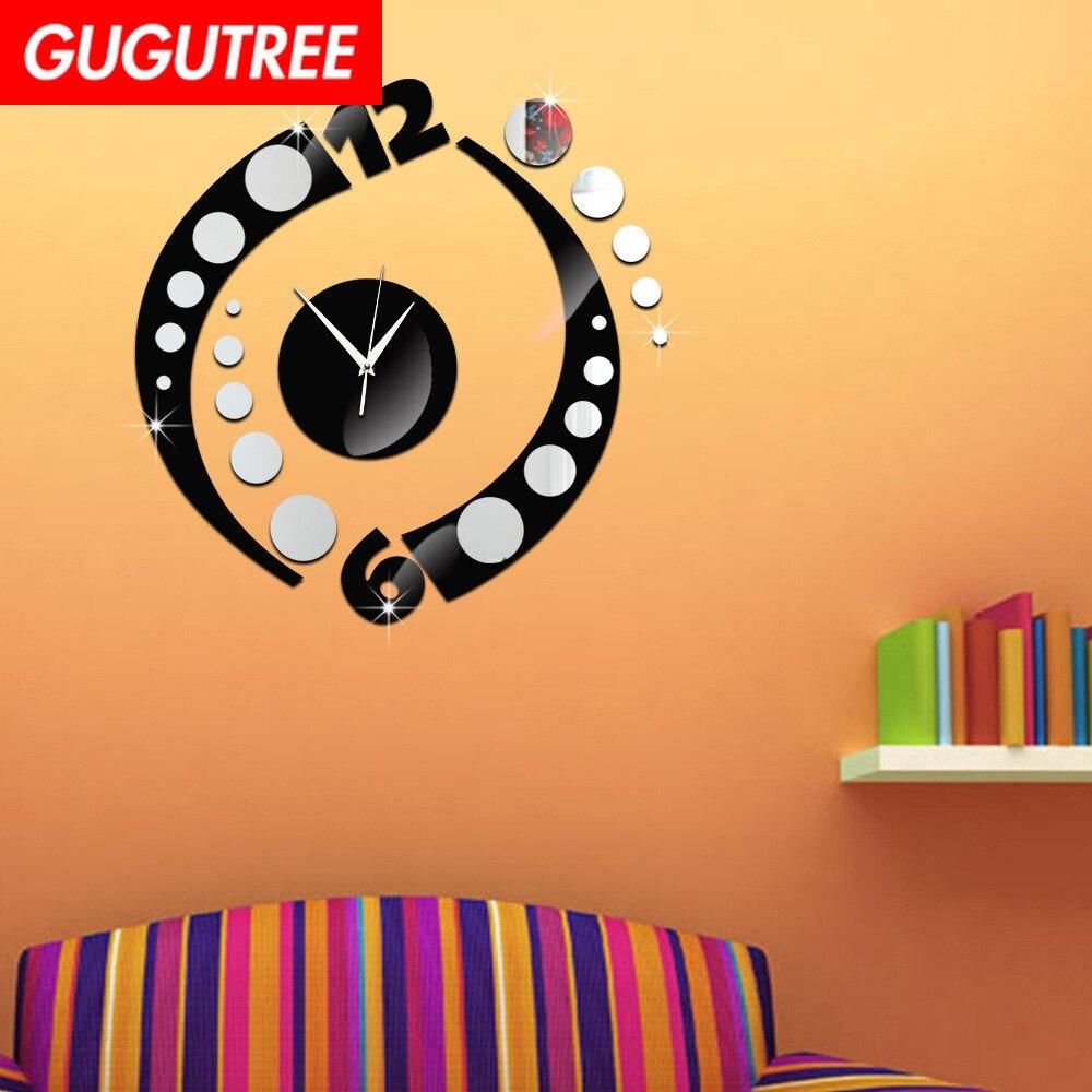 Украшение дома черные красные часы настенное зеркало в стиле Арт Наклейка украшение Наклейки роспись съемный декор обои LF-1093