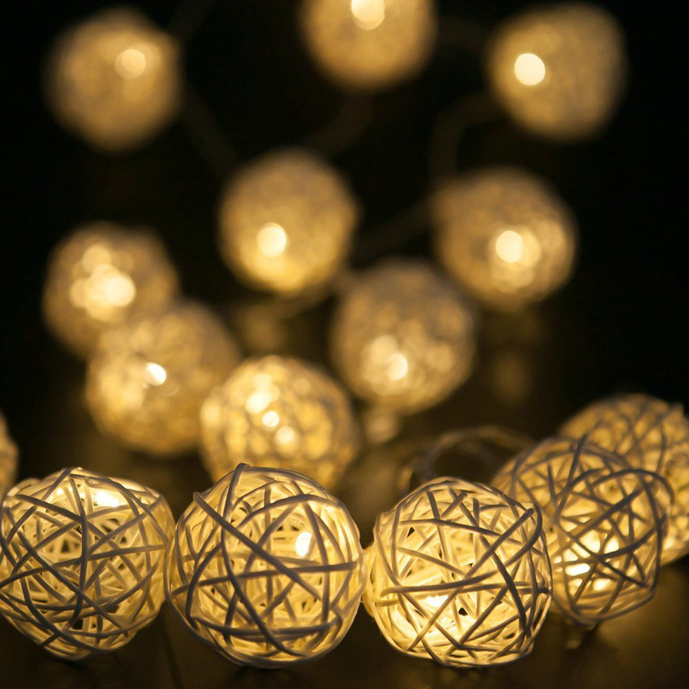 Guirlande Lumineuse Exterieur Led Us 6 99 3 5m 20 Rattan Balls Lights Led String Fairy Holiday Christmas Lights Outdoor Guirlande Lumineuse Exterieur Luces Decorativas In Lighting