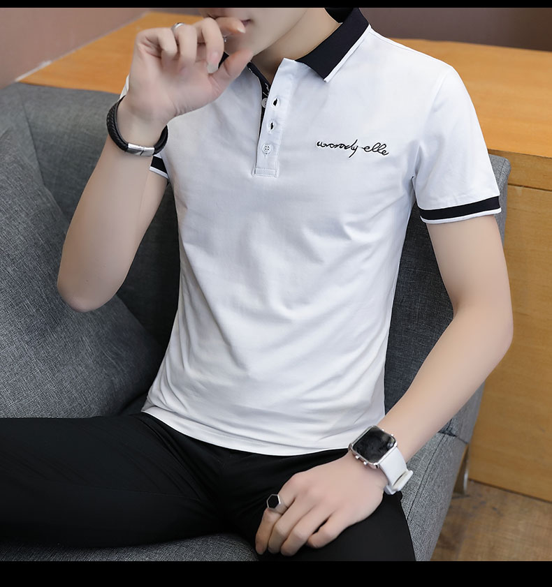 Short-sleeved T-shirt men's fashion casual cotton clothes decorated with multi-color optional 86