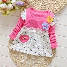 Autumn Baby Girls Dress Children Clothing Polka Dot Long Sleeve Toddler Floral Sundress Outfits Clothes недорго, оригинальная цена