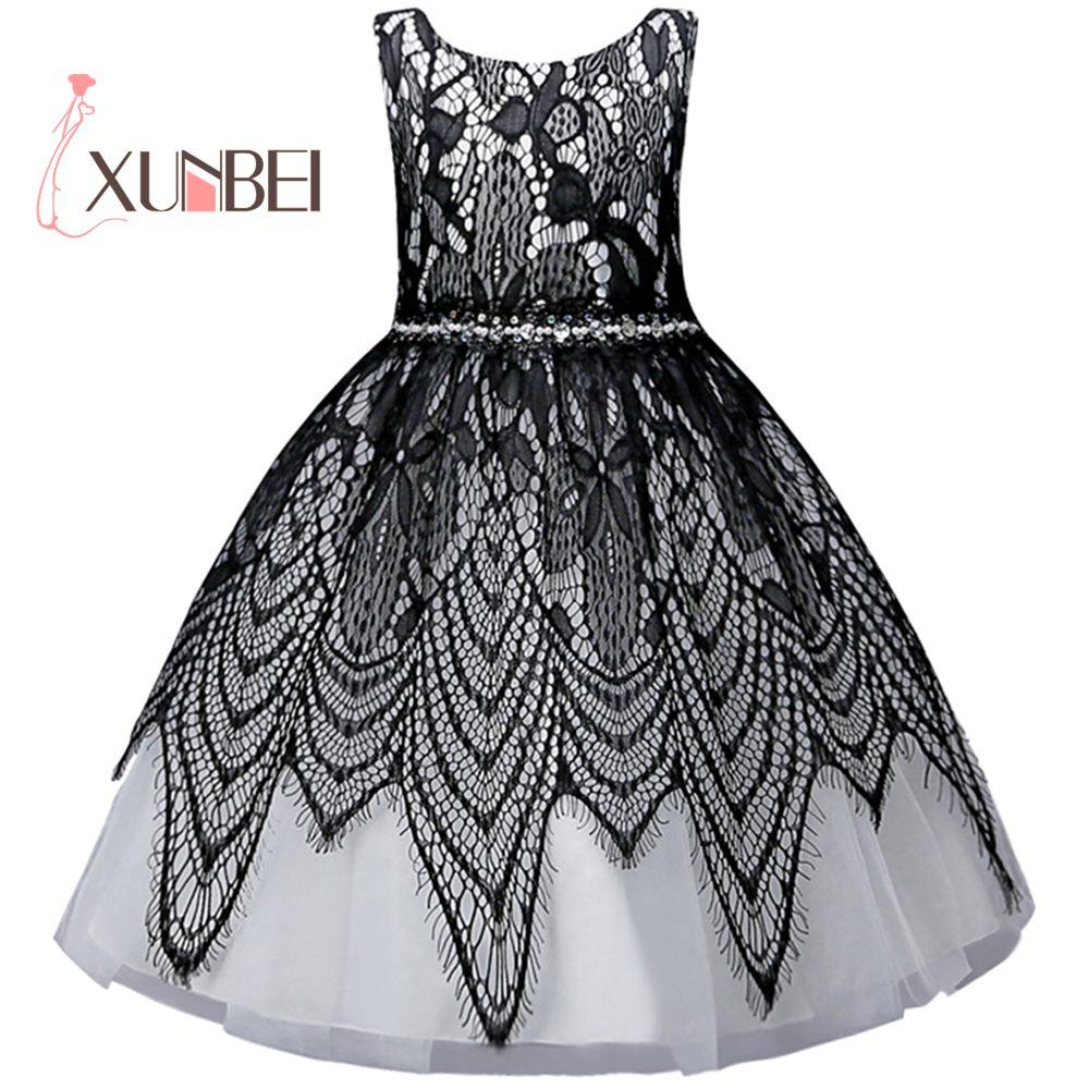 Elegant Princess Knee Length Beading Tulle   Flower     Girl     Dresses   2018 Ball Gown For Kids First Communion   Dresses   Baljurk Meisje