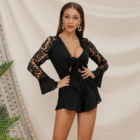 European style summer long sleeves lace body femme sexy deep V neck sexy lotus leaf shorts green jumpsuits bodysuits 81101#