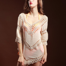 2017 Summer Smock Women White Lace Crochet Tropical Top Blouse Boho Hollow Out Beach Cover Up Blouse Beach Shirts