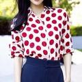 Nuevo diseñador de la marca blusas mujeres Puntos de manga larga más tamaño camisa de gasa