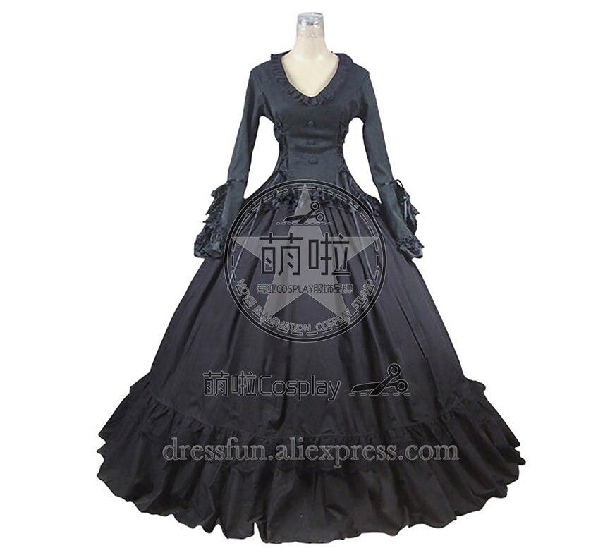Victorian Gothic Lolita Ball Gown Prom Brocade Black Dress fast Shipping Halloween Lace Lolita Costumes Beautifull Dress