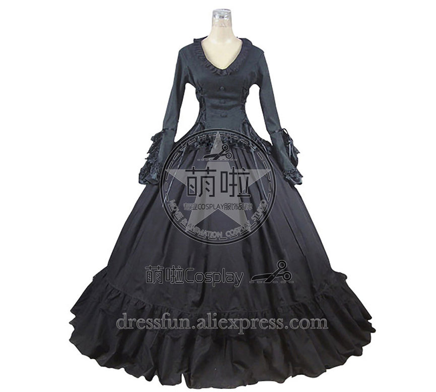Victorian Gothic Lolita Ball Gown Prom Brocade Black Dress fast Shipping Halloween Lace Lolita Costumes Beautifull Dress