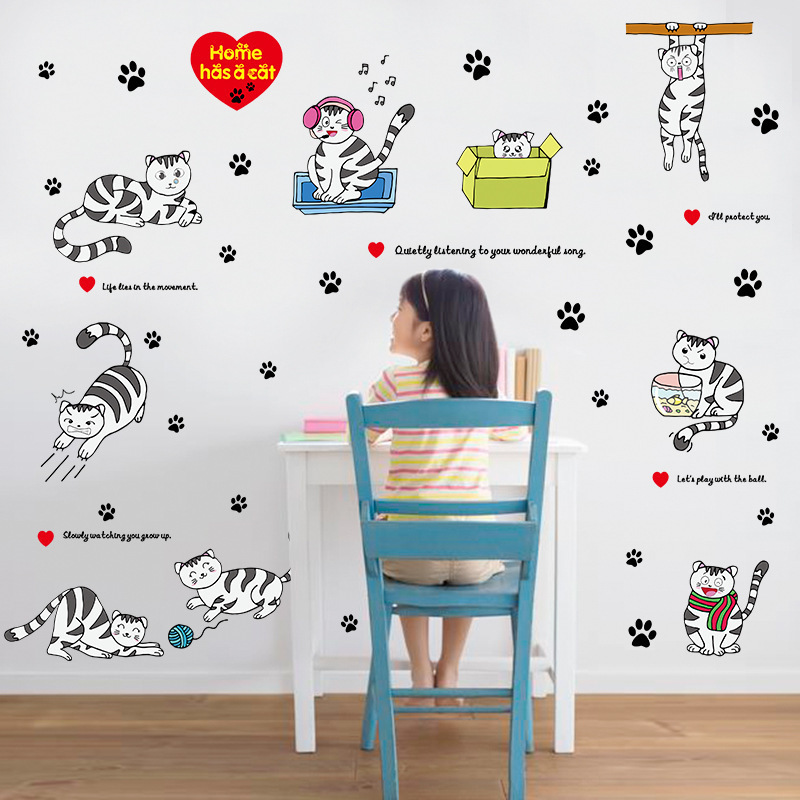 1 Piece Hot Home Decor Wall Stickers Cat Crafts Paster Cartoon PVC Large  Size Removable Plane And Mirror Sticker Kids Room In Wall Stickers From  Home ...