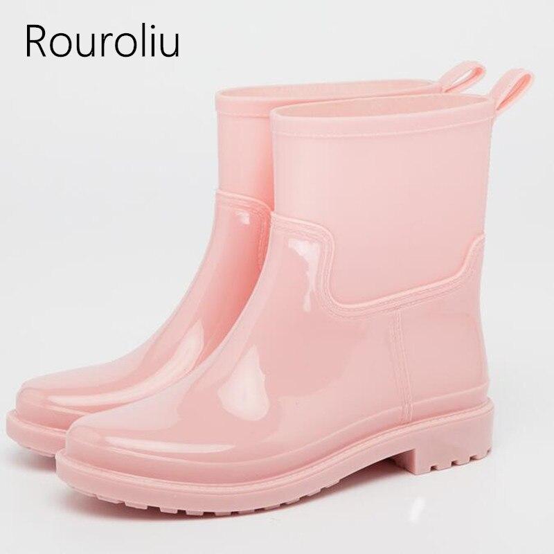 Rouroliu New Ankle Rain Boots Women Slip-on PVC Waterproof Water Shoes Woman Soft Patchwork Wellies Boots  RT279Rouroliu New Ankle Rain Boots Women Slip-on PVC Waterproof Water Shoes Woman Soft Patchwork Wellies Boots  RT279