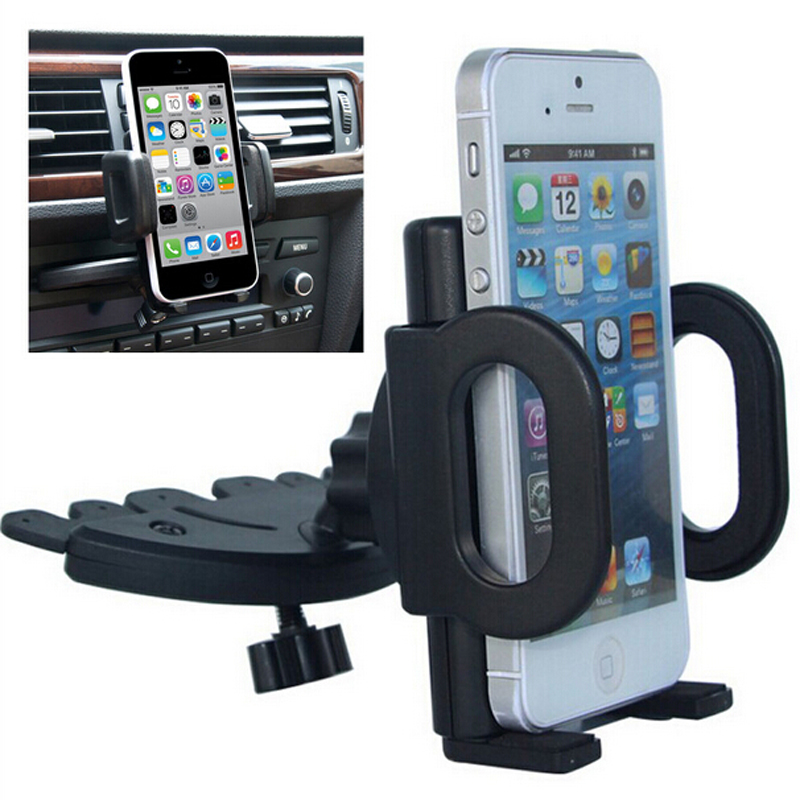 Universal 360 Degree Rotating Smart Phone Adjustable Black CD Slot Mount Stand Car Phone Holder For Mobile Phone  Bracket Stands