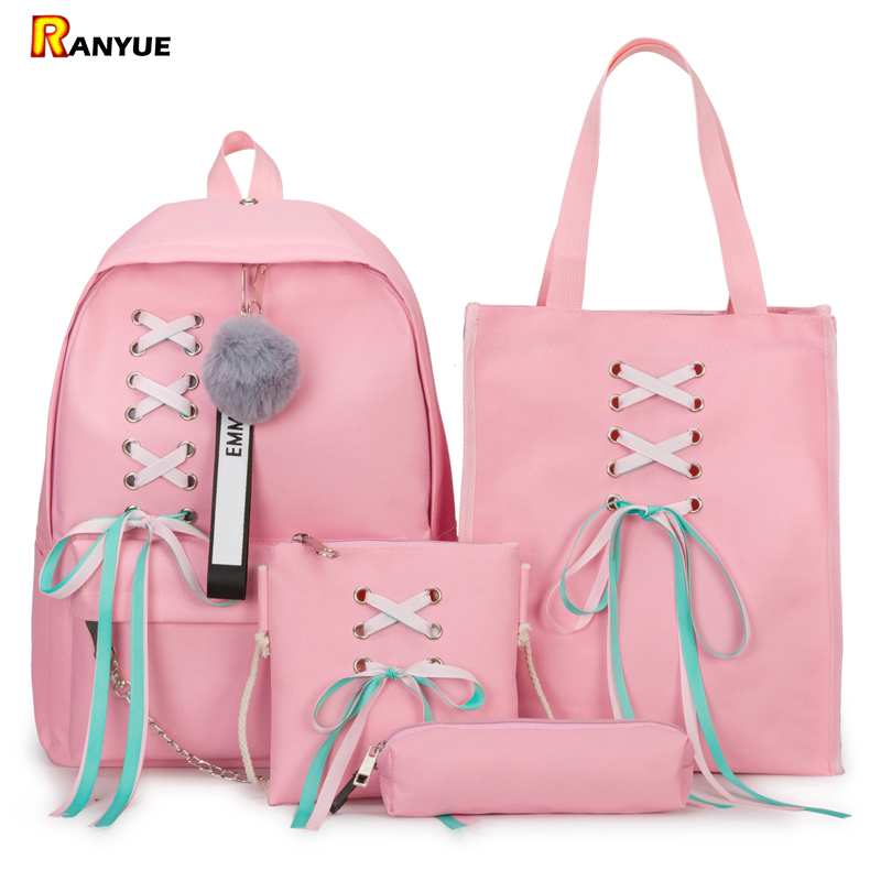 4Pcs/Set Ribbon Chain Bowknot Letter Mochila Canvas Backpack Travel Rucksacks Leisure Backpacks For Teenage Girls School Bagpack