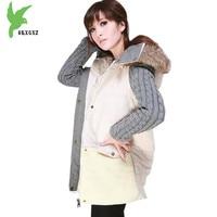 European Women Fashion Cotton Jackets Winter Coats Raccoon Fur Collar Thicker Parkas Stitching Plus Size Loose Outerwear OKXGNZ