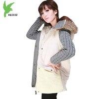 Europejskie Kobiety Mody Bawełniane Kurtki Zimowe Płaszcze Raccoon Fur Collar Parki Grubsze Szwy Plus Rozmiar Odzieży Luźno OKXGNZ