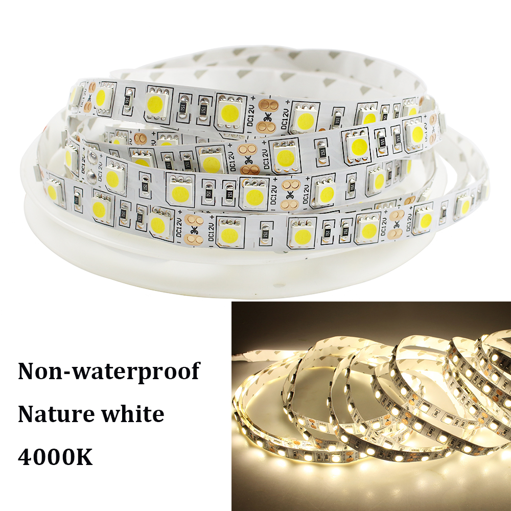SMD 5050 LED Strip Light DC12V 4000K Nature White LED Flexible Strip Light Ribbon Tape Non-waterproof String Rope 5M 300 LEDs