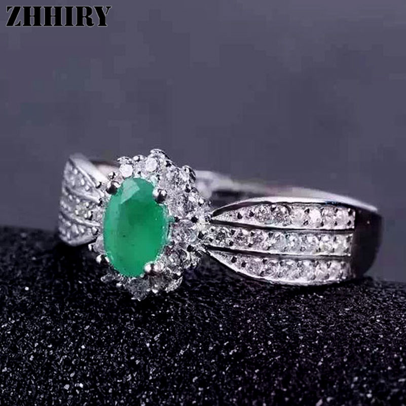 ZHHIRY Genuine Natural Emerald Gemstone Ring 925 Sterling Silver Rings Wedding Engagement Wife Woman Fine Jewelry Royal Noble цена