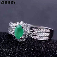 Green Emeral Ring Real 925 Sterling Silver 100 Natural Gems Gift White Gold Plated Wedding Engagement