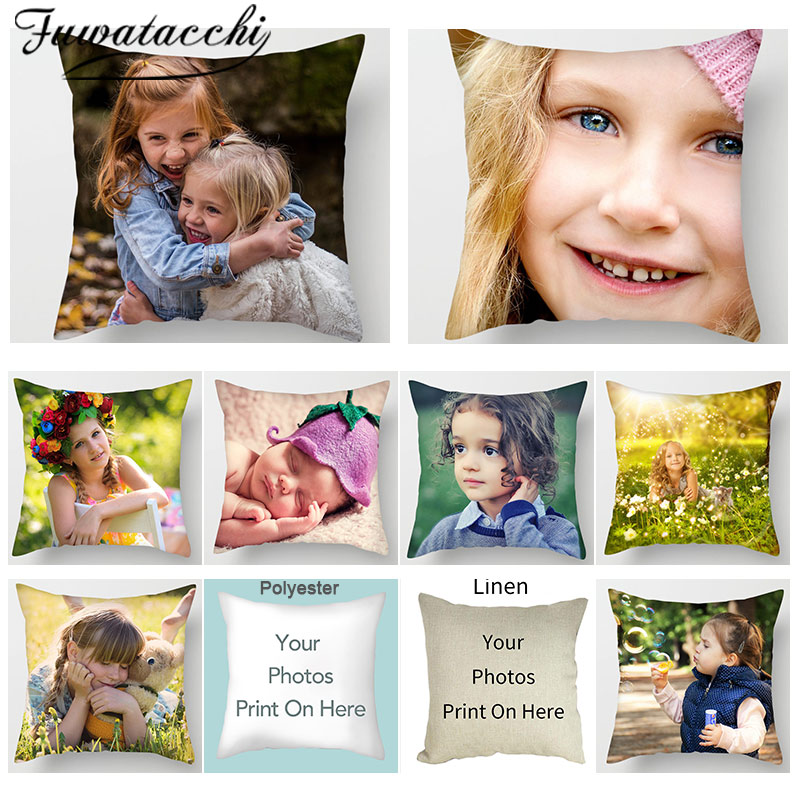 Fuwatacchi Family Friends Customization Pillow Cover Baby Coulp Photo Customize Cushion Cover Linen Pillowcase Gift 45*45cm
