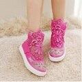 Top de la moda 2017 primavera verano versión coreana dulce niños princesa shoes lace hollow embroma las zapatillas de deporte botas sapato menina
