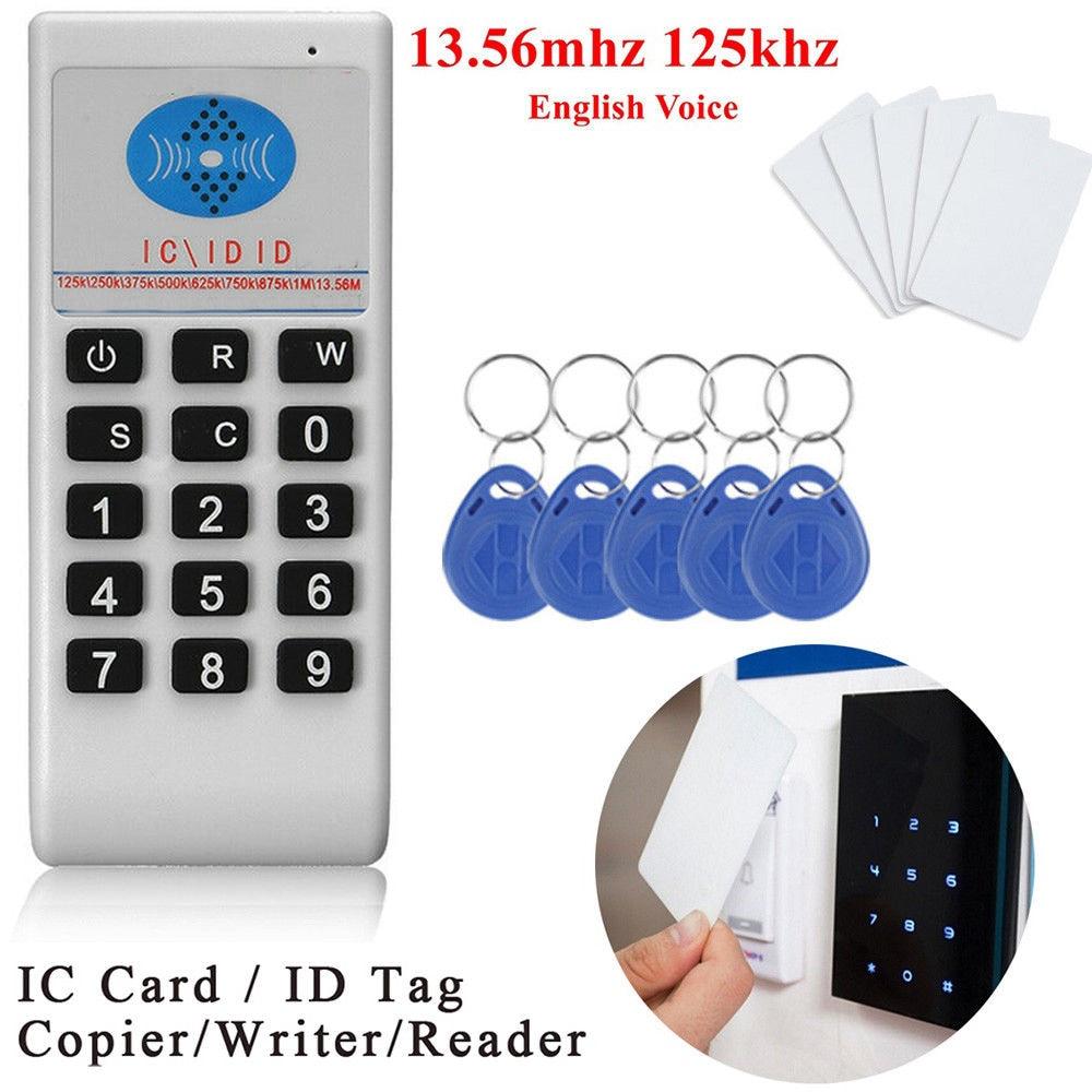 Frecuencia portátil 125Khz-13,56 MHZ copiadora duplicadora clonadora RFID tarjeta NFC IC lector y escritor 10 duplicador de copiadora RFID de frecuencia inglesa 125 Khz llavero NFC lector escritor 13,56 MHz programador cifrado USB UID copia Etiqueta de tarjeta