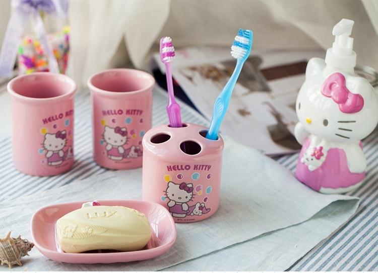 5 Piece Pink Hello Kitty Bathroom Set Kids Bathroom Accessories,Ceramic(China  (Mainland