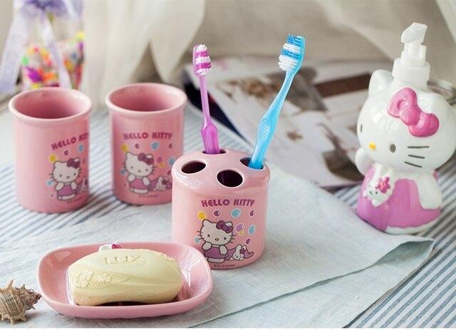 5 Stück Rosa Hallo Kitty Badezimmer Set Kinder Badezimmer Zubehör, Keramik