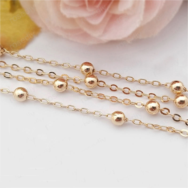 1 Meter width 1 6MM 24K Champagne Gold Color Plated Brass Station Ball beads Flat Oval Chains Necklace Chains Accessories in Jewelry Findings Components from Jewelry Accessories