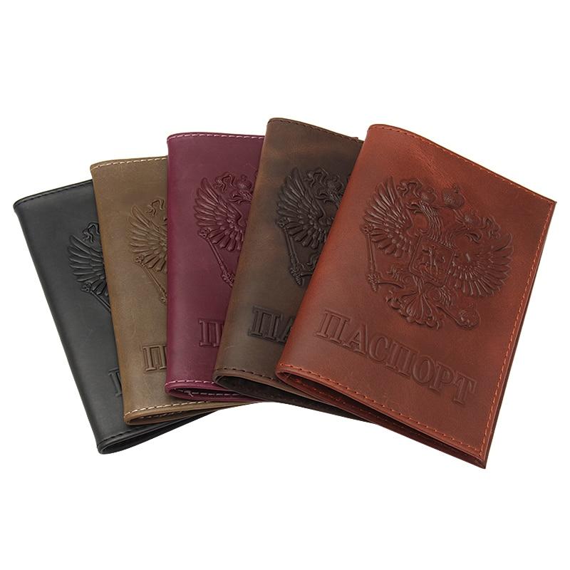 2020 винтажная русская гладкая Обложка для паспорта Crazy Horse из натуральной кожи