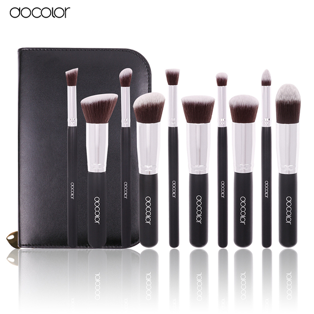 Docolor 10 Unids Pro Blending Blush Set Cosmética Maquillaje Herramienta Pinceles de Maquillaje Negro Cepillos de Pelo de Nylon Suave Belleza de Aseo Kit