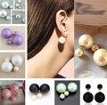 ne409  2015 free shipping  beads  dull double faced Pearl stud earring double side earring two way wear color earrings Wholesale