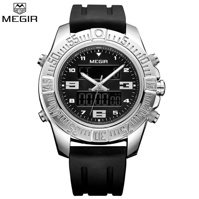 цены  MEGIR New 2017 Luxury Brand Men Military Sports Watches Men's Quartz-watch Silver Hour Clock Male Wrist Watch Relogio Masculino