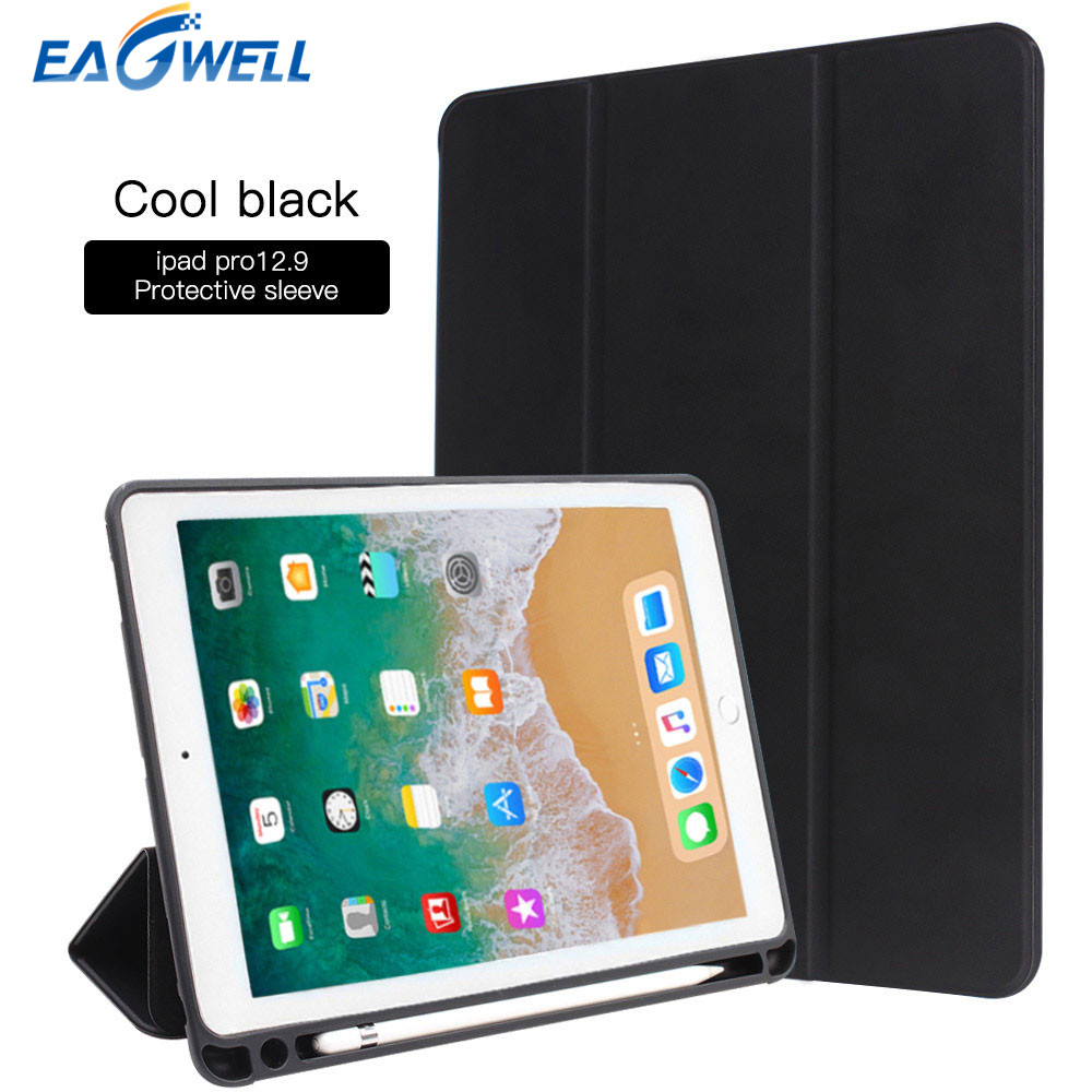 Smart Case Cover For iPad Pro 12.9 2017 A1670 A1671 PU Leather Flip Stand Case With Pencil Holder Protective Shell Funda protective flip open pu leather case w holder card slot for iphone 5 5s light brown