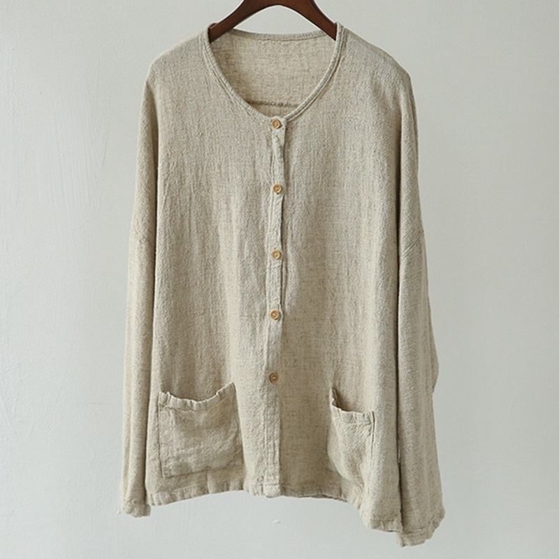 Mori Style Linen Blouse Femme Full Sleeve Button Up Shirt Women O neck Double Pockets Beige