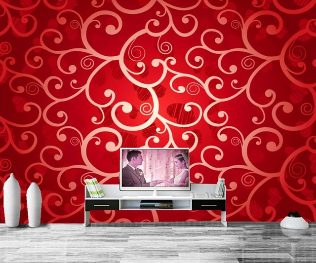 Red Texture Tracery Wallpapers,living Room Tv Sofa Wall Bedroom Part 13
