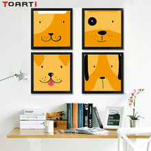 Nordic Style Cartoon Dog Canvas Art Painting Poster And Print Funny Animal Wall Pictures for Kids Room Home Decoration No Frame
