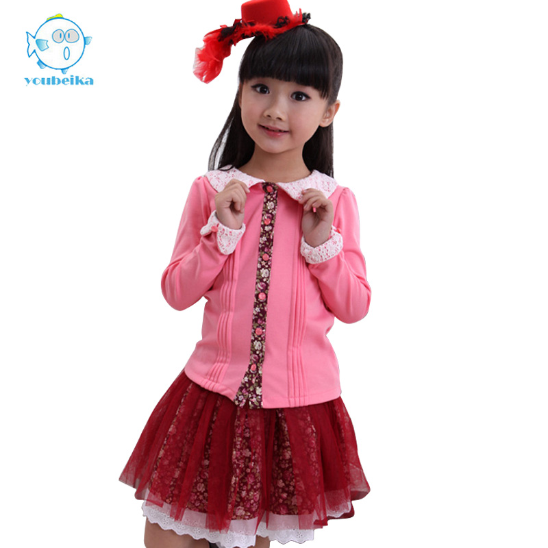 Kids Girls Set Skirt Clothes Spring Autumn Longsleeve 2016 Casual Cotton Cardigan And Flower Skirt 2 Pcs Children Clothing Sets