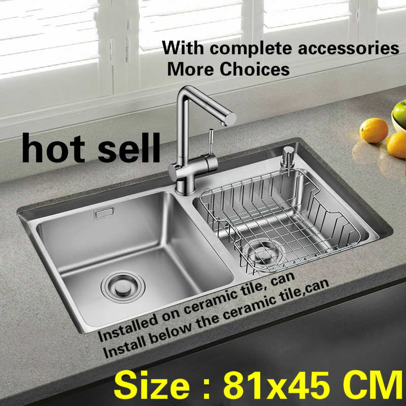 Free shipping Fashion kitchen sink big 0.8 mm thick double groove 304 stainless steel hot sell  810x450 MMFree shipping Fashion kitchen sink big 0.8 mm thick double groove 304 stainless steel hot sell  810x450 MM