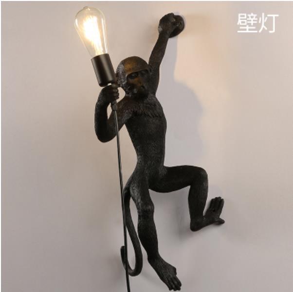 Resina preto branco macaco luz pingente para sala de estar lâmpadas sala estar estudo arte luzes led lustre com e27 lâmpada led - 4
