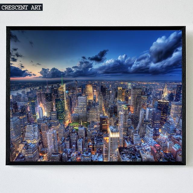 Moderno de Nueva York Manhattan ciudad noche vista panorámica de la ...