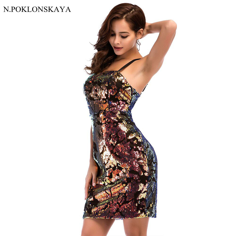 Sequin Verband kleid Damen Kurze Sexy Ärmellose Bodycon Kleid