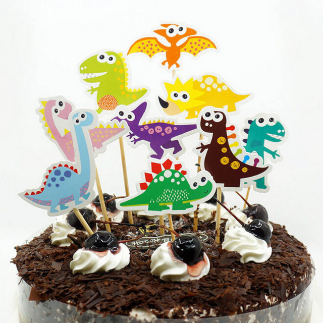 1set Happy Birthday Popular Diy Cake Flag Cartoon Dinosaur Cake