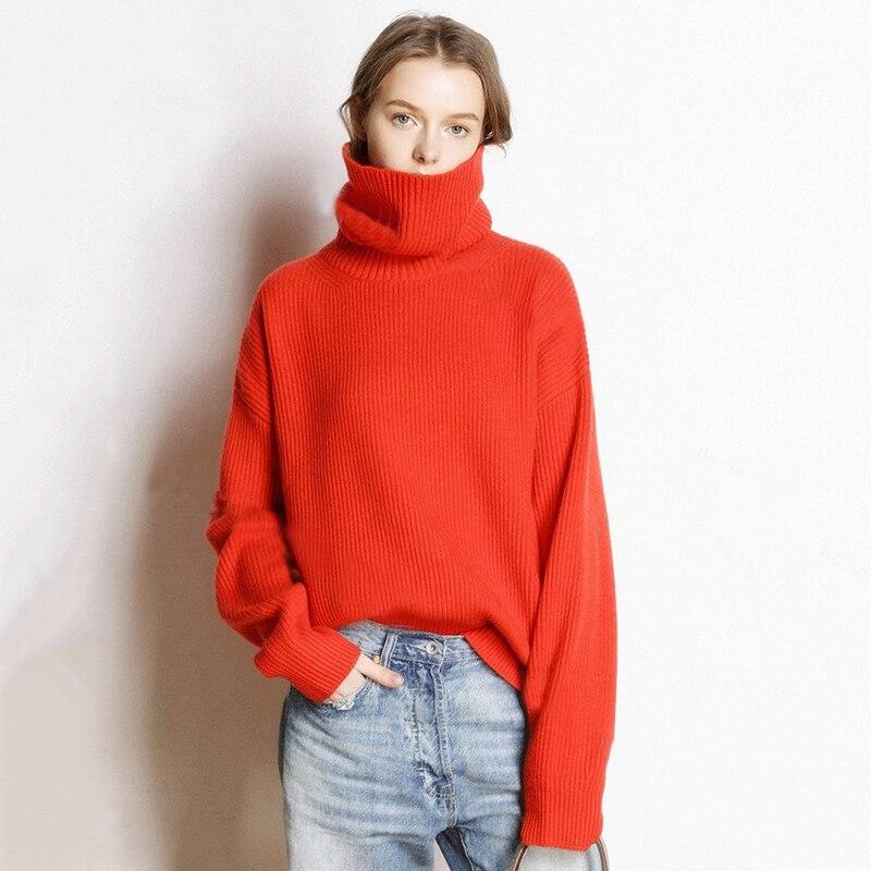 Chaud Lâche Cachemire Streetwear blanc Femme Chandails rouge vert Femmes Col En Mode Casual Tricoté Taille Roulé Pull bleu 2018 De Pulls Hiver Plus Noir La qW8qwSvPI7