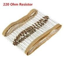 100 шт./лот 220 Ом 1/4 Вт металла Плёнки резистор Вт 0.25 Вт 1% 220ohm