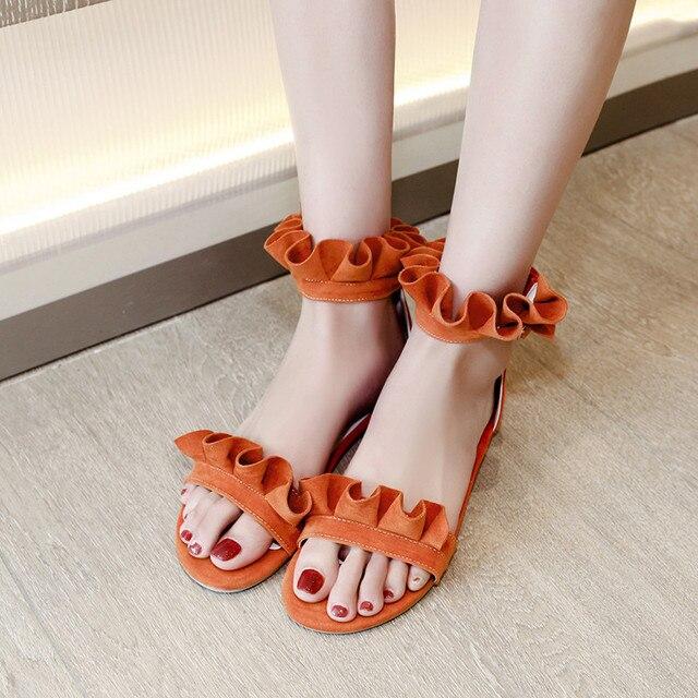 e53187062f3 YMECHIC Sweet Flower Ruffles Lolita Ankle Strap Flat Heel Gladiator Sandals  Women Orange Pink Lady Party