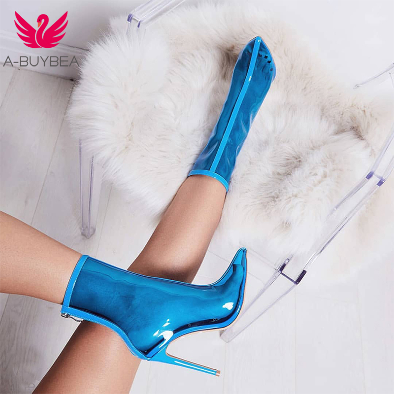 A-BUYBEA Women PVC ankle Boots New Hot Sale Transparent Women Boots Clearheels Shoes Super high heels Thin heel zip women boots