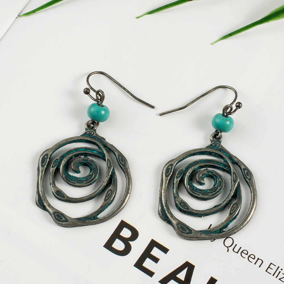 2018 Fashion Antique Vintage Spiral Dangle Drop Earrings with Stone for Women